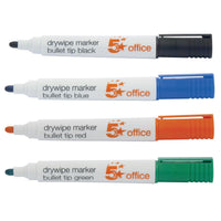 5 Star Office Drywipe Marker Xylene/Toluene-free Bullet Tip 3mm Line Various Cols [Pack 12 of Same Colour]