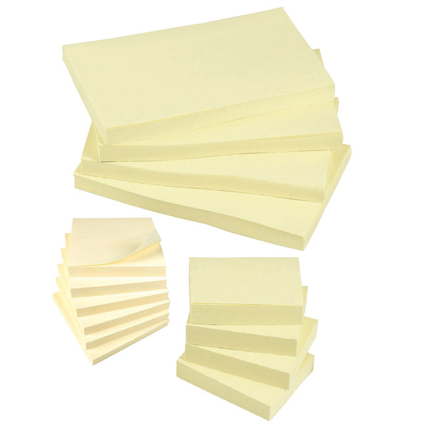 5 Star Office Extra Sticky Re-Move Notes Pad of 90 Sheets Various Sizes Yellow [Pack 12]