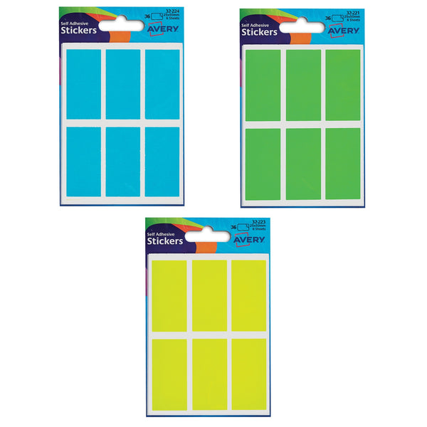 Avery Packets of Labels Rectangular 50x25mm Various Colours [10 Packs x36 Labels]