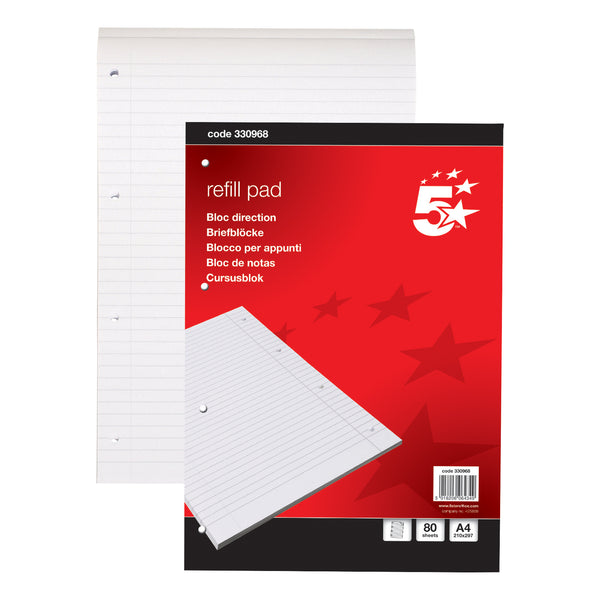 5 Star Office Refill Pad Headbound 60gsm Ruled With or Without Margin Punched 4 Holes 160pp A4 Red [Pack 10]