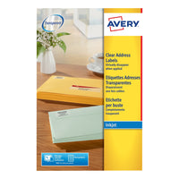 Avery Addressing Labels InkJet Clear Labels - 25 Sheets - Various Sizes