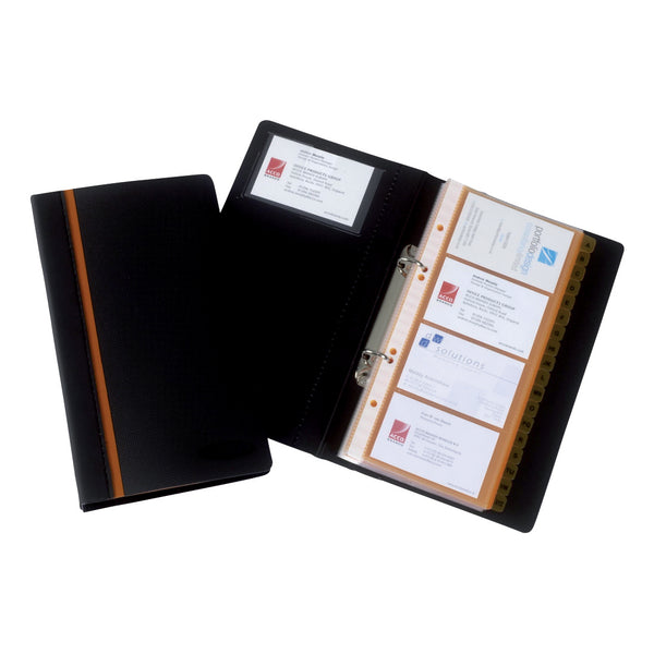 Rexel Business Card Book Professional Ring Binder with A-Z Index Capacity 128 Cards