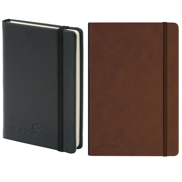 Silvine Executive Soft Feel Notebook 80gsm Ruled with Marker Ribbon 160pp A4/A5/A6 Black Or Tan