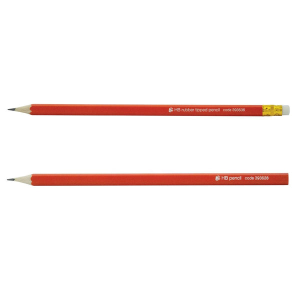5 Star Office Pencil HB Red Barrel With or Without an Eraser [Pack 12]