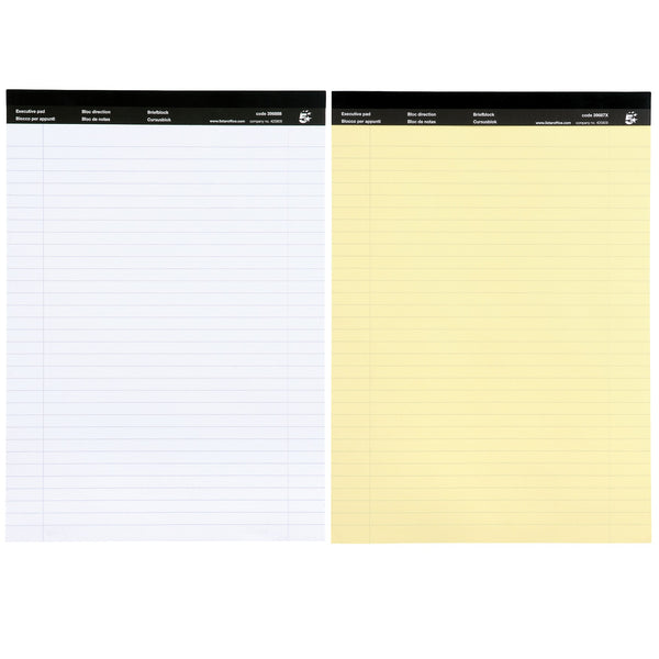 5 Star Office Executive Pad Hbd 65gsm Ruled with Blue Margin Perforated 100pp A4 Yellow or White Paper [Pack 10]