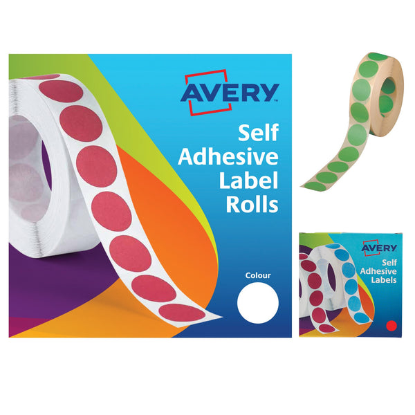 Avery Labels in Dispenser on Roll Round Diam.19mm Various Colours [1120 Labels(1400 White)]