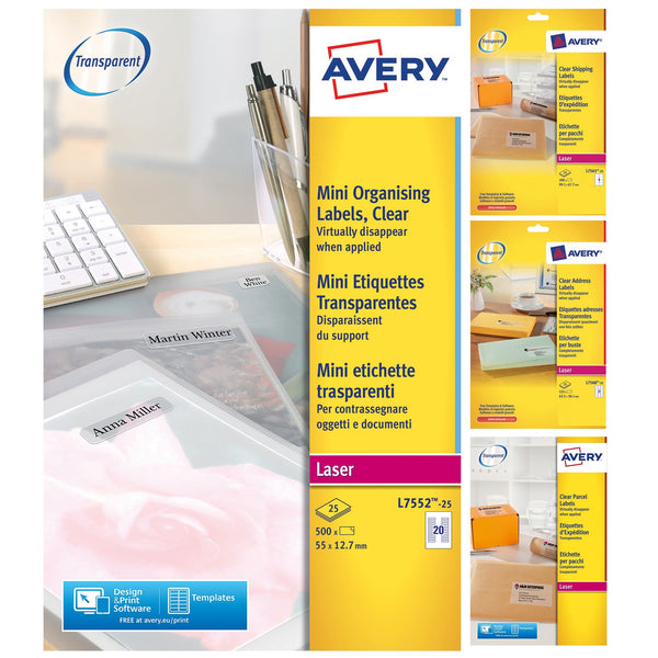 Avery Address/Multipurpose Labels Laser Clear/Invisible [Various Sizes and Quantities]