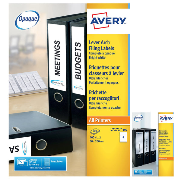 Avery Filing Labels Laser Lever Arch 4 per Sheet 200x60mm [400 or 100 Labels]