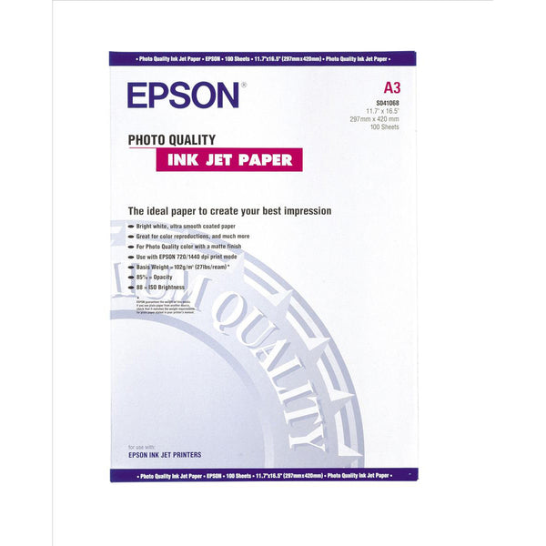 Epson Photo Quality Inkjet Paper Matt 102gsm Max.1440dpi A3 [100 Sheets]