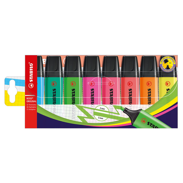 Stabilo Boss Highlighters Chisel Tip 2-5mm Line Wallet Assorted Colours [Pack of 4, 6 or 8]