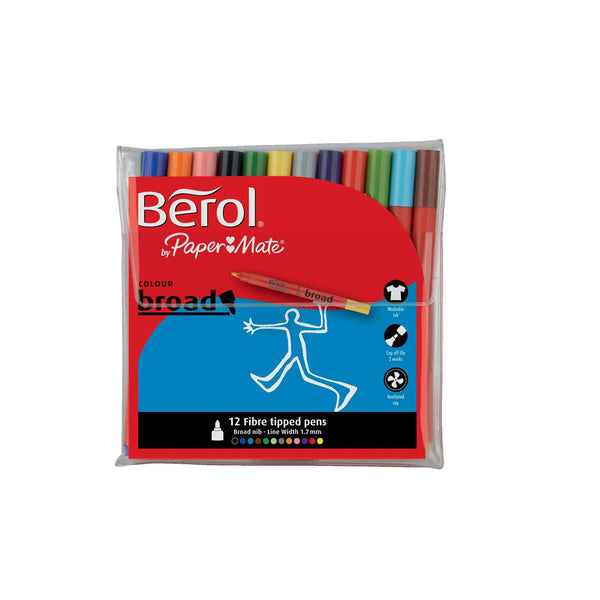 Berol Colour Broad Pens with Washable Ink 1.7mm Line Wallet Assorted Colours [Pack 12]