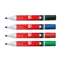 5 Star Office Drywipe Marker Xylene/Toluene-free Bullet Tip 3mm Line Wallet Assorted [Pack 12]
