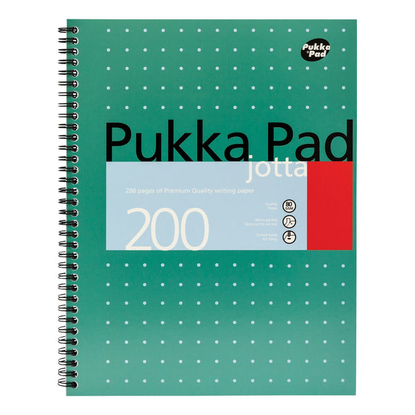Pukka Pad Metallic Jotta Nbk Wirebound 80gsm Ruled Perforated 200pp A4 or A5 Metallic Green [Pack 3]