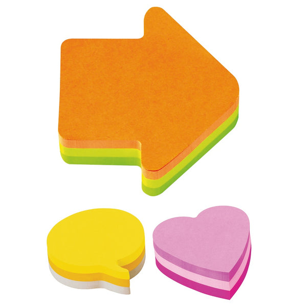 Post-it Shaped Notes Pad of 225 Sheets (Arrow, Heart or Speech Bubble)