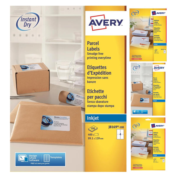 Avery Quick DRY Addressing/Parcel Labels Inkjet White - Various Sizes - 100 Sheets
