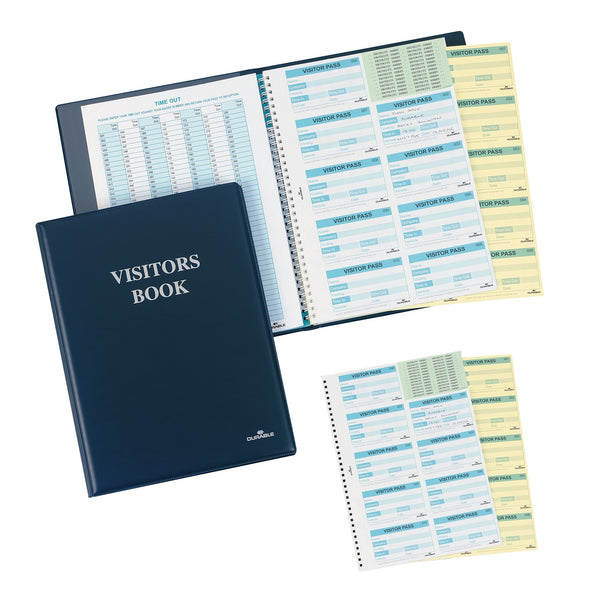 Durable Visitors Book Leather Look 300 Duplicate Carbonless Badge Inserts W90xH60mm (Refills Also)