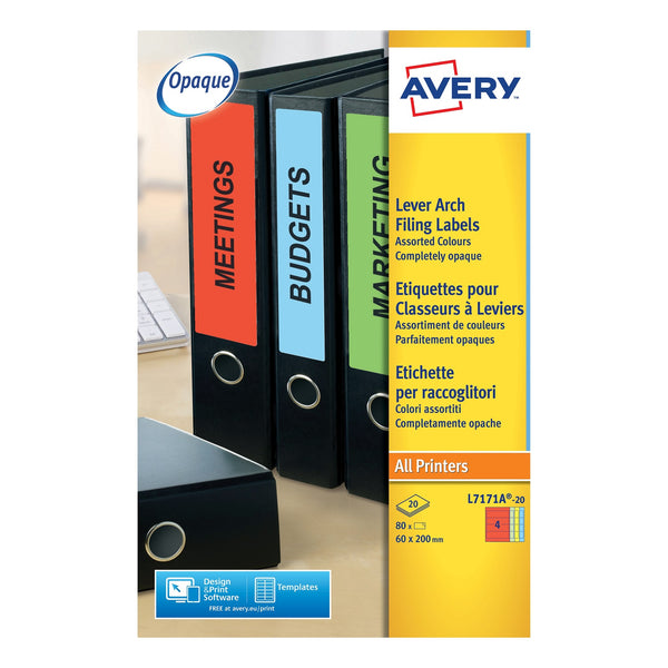 Avery Filing Labels Laser Lever Arch 4 per Sheet 200x60mm Assorted Colours [80 Labels]