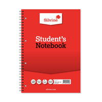 Silvine Student Notebook Wirebound 75gsm Narrow Ruled Punched 4 Holes 120pp A4 Red Ref 141 [Pack 12]
