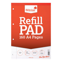 Silvine Refill Pad Headbound 75gsm Ruled Margin Perf Punched 4 Holes 160pp A4 Or A5 Red [Pack 6]