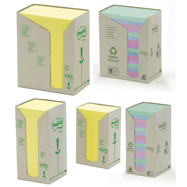 Post-it Recycled Notes Tower Pack Various Sizes and Colours [Pack 16/24]