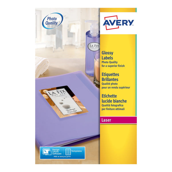Avery Glossy Labels Laser Photographic Finish 8 per Sheet 99.1x67.7mm White [320 Labels]
