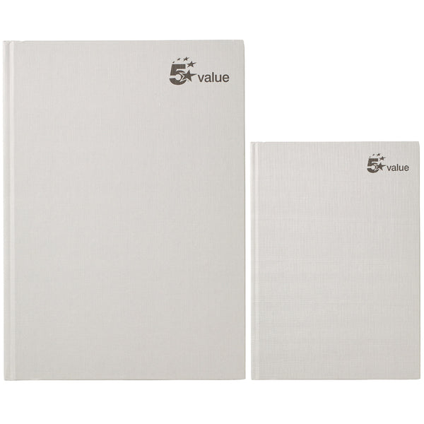 5 Star Value Casebound Notebook 70gsm Ruled 192pp A4 Or A5 [Pack 5]