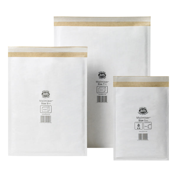 Jiffy Mailmiser Protective Envelopes Bubble-lined White Various Sizes [Pack 50/100]