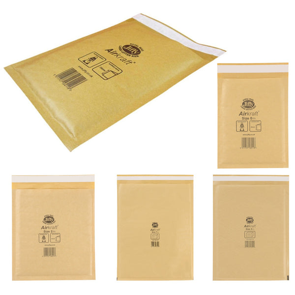 Jiffy Airkraft Bubble Bag Envelopes Gold Various Sizes [Pack 50/100]