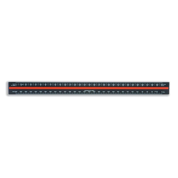 Linex Scale Ruler Triangular Aluminium Colour-coded Scales 1:1 to 1:2500 - 300mm Black