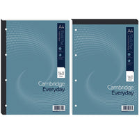 Cambridge Everyday Refill Pad Head or Sidebound 70gsm Ruled Margin Punched 4 Holes 160pp A4 Blue [Pack 5]