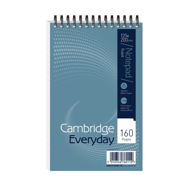 Cambridge Everyday Shorthand Pad Wbnd 70gsm Ruled Perforated 160pp 125x200mm Blue [Pack 10]