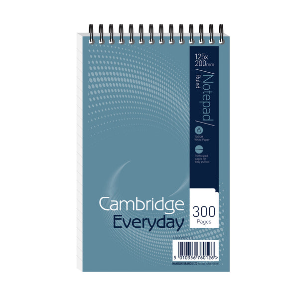 Cambridge Everyday Shorthand Pad Wbd 70gsm Ruled Perforated 300pp 125x200mm Blue [Pack 5]