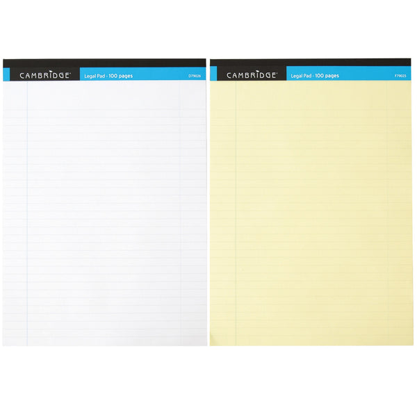 Cambridge Legal Pad Headbound Ruled Margin Perforated 100pp A4 Yellow Or White Paper [Pack 10]