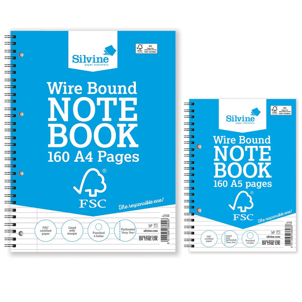 Silvine FSC Notebook Wirebound 56gsm Ruled Perforated 160pp A4 Or A5 [Pack 5]
