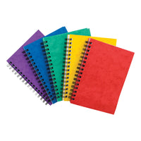 Notebook Sidebound Twin Wire 80gsm Ruled & Perforated 120pp A6 Assorted Colours [Pack 10]