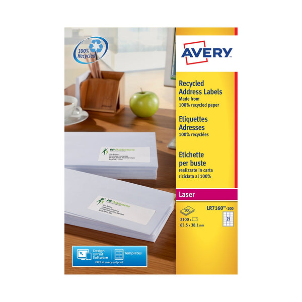 Avery Addressing/Parcel Labels Laser Recycled White Various Sizes