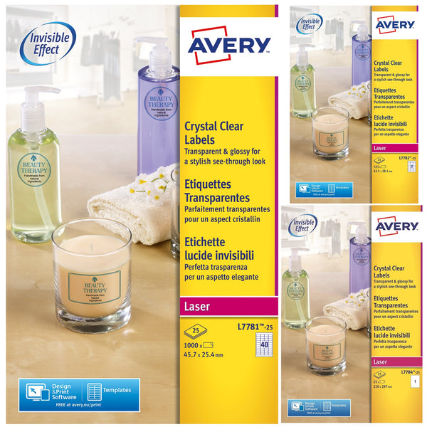 Avery Crystal Clear Labels Laser Durable Transparent Various sizes