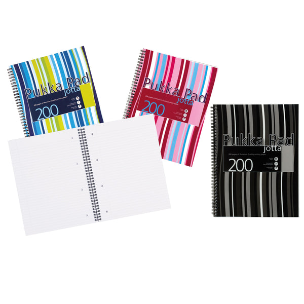 Pukka Pad Jotta Notebook Poly Wirebound 80gsm Ruled Perforated 200pp A4 Or A5 Assorted Or Black [Packed 3]