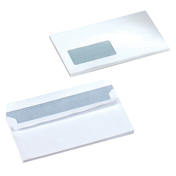 5 Star Office Envelopes PEFC Wallet Self Seal Window 80 Or 90gsm DL 220x110mm White [Pack 500 or 1000]