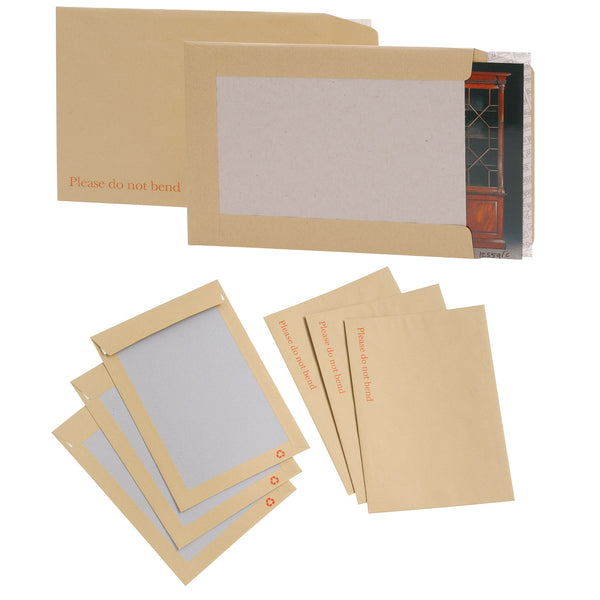 5 Star Office Envelopes Recycled Board Backed Hot Melt Peel & Seal Various Sizes 120gsm Manilla [Pack 125 (or stated)]
