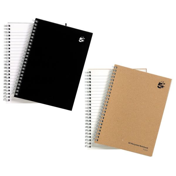 5 Star Office Notebook Wirebound 80gsm Ruled 140pp A5 Black Or Buff Colour [Pack 5]