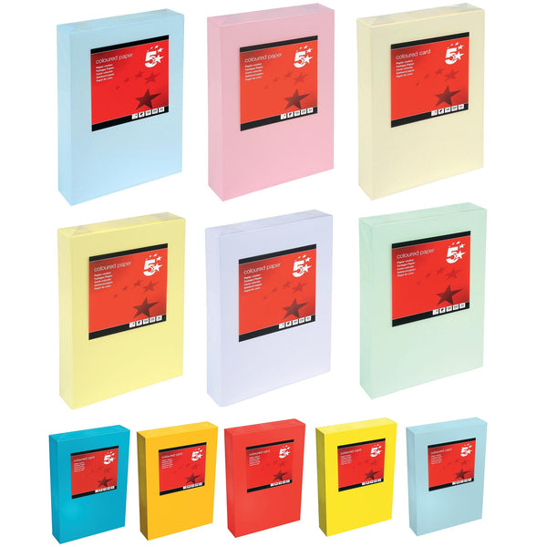 5 Star Office Coloured Card Multifunctional 160gsm A4 Various Colours [250 Sheets]