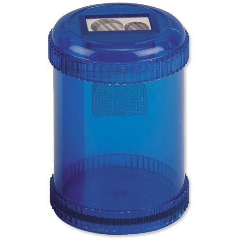 5 Star Office Pencil Sharpener Plastic Canister Two Hole Max. Diameter 8/11mm Blue [Single or Pack of 10]