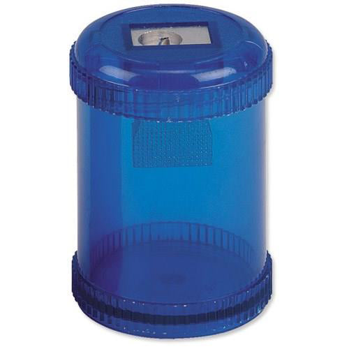 5 Star Office Pencil Sharpener Plastic Canister One Hole Max. Diameter 8mm Blue [Single or Pack of 10]