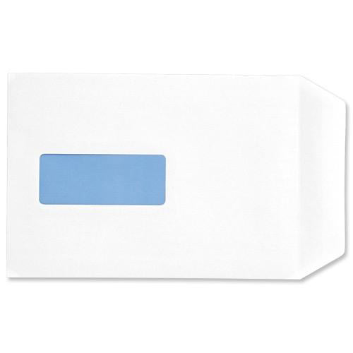 5 Star Eco Envelopes Recycled Pocket Self Seal Window 90gsm C5 229x162mm White [Pack 500]