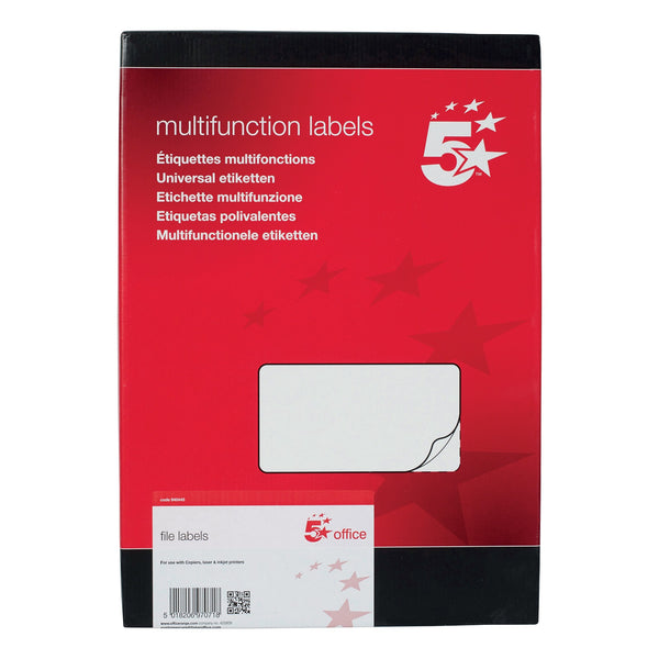 5 Star Office Spine Labels for Lever Arch File 4 per Sheet 194x62mm Self Adhesive [400 Labels]