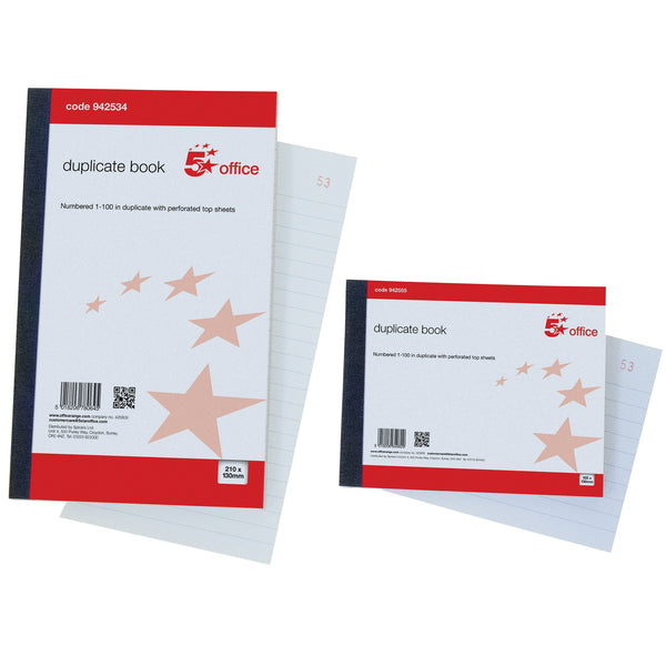 5 Star Office Duplicate Book with Carbon Ruled Indexed and Perforated 100 Sets 210x130mm Or 105x130mm