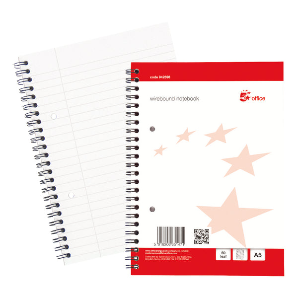 5 Star Office Notebook Wirebound 70gsm Ruled with Margin Perf Punched 2 Holes 100pp A5+ Red [Pack 10]