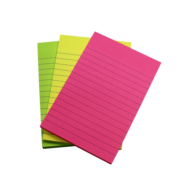 5 Star Extra Sticky Pads 70gsm 3 Neon Assorted Colours Yellow Pink & Green 90 Sheets 150x101mm [Pack 3]