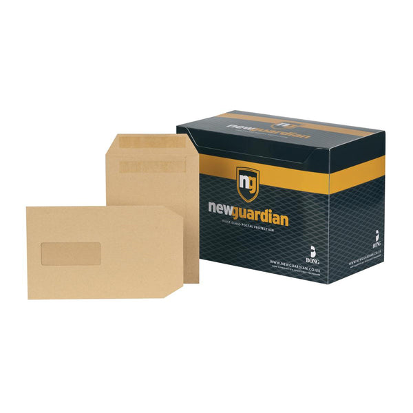 New Guardian Envelopes FSC Pocket Self Seal HeavyWeight Wdw 130gsm C5 Manilla [Pack 250]